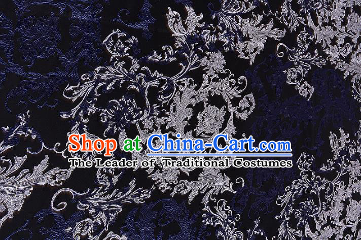 Chinese Traditional Costume Royal Palace Jacquard Weave Navy Brocade Fabric, Chinese Ancient Clothing Drapery Hanfu Cheongsam Material