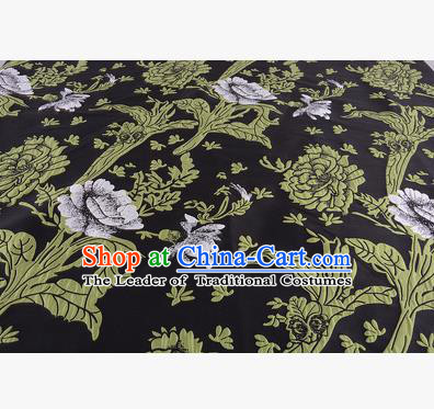 Chinese Traditional Costume Royal Palace Jacquard Weave Black Satin Brocade Fabric, Chinese Ancient Clothing Drapery Hanfu Cheongsam Material