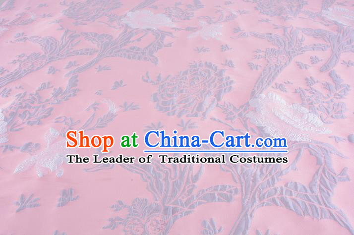 Chinese Traditional Costume Royal Palace Jacquard Weave Pink Satin Brocade Fabric, Chinese Ancient Clothing Drapery Hanfu Cheongsam Material