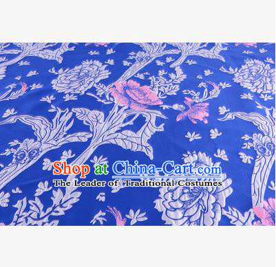 Chinese Traditional Costume Royal Palace Jacquard Weave Deep Blue Satin Brocade Fabric, Chinese Ancient Clothing Drapery Hanfu Cheongsam Material