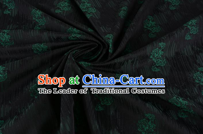 Chinese Traditional Costume Royal Palace Rose Pattern Black Brocade Fabric, Chinese Ancient Clothing Drapery Hanfu Cheongsam Material