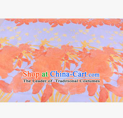 Chinese Traditional Costume Royal Palace Peony Pattern Orange Brocade Fabric, Chinese Ancient Clothing Drapery Hanfu Cheongsam Material