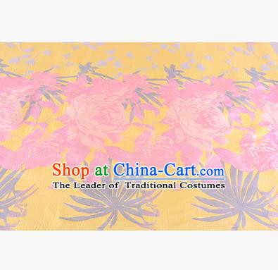 Chinese Traditional Costume Royal Palace Peony Pattern Yellow Brocade Fabric, Chinese Ancient Clothing Drapery Hanfu Cheongsam Material