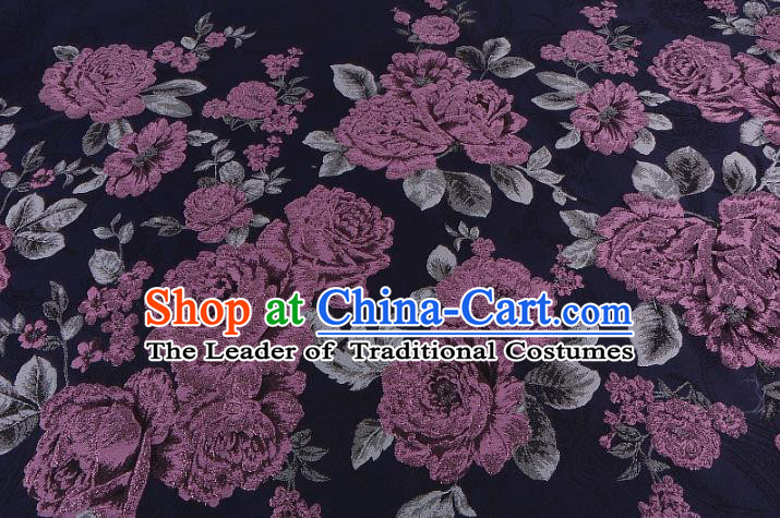 Chinese Traditional Costume Royal Palace Jacquard Weave Purple Peony Brocade Fabric, Chinese Ancient Clothing Drapery Hanfu Cheongsam Material