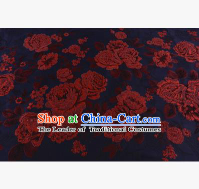 Chinese Traditional Costume Royal Palace Jacquard Weave Red Peony Brocade Fabric, Chinese Ancient Clothing Drapery Hanfu Cheongsam Material