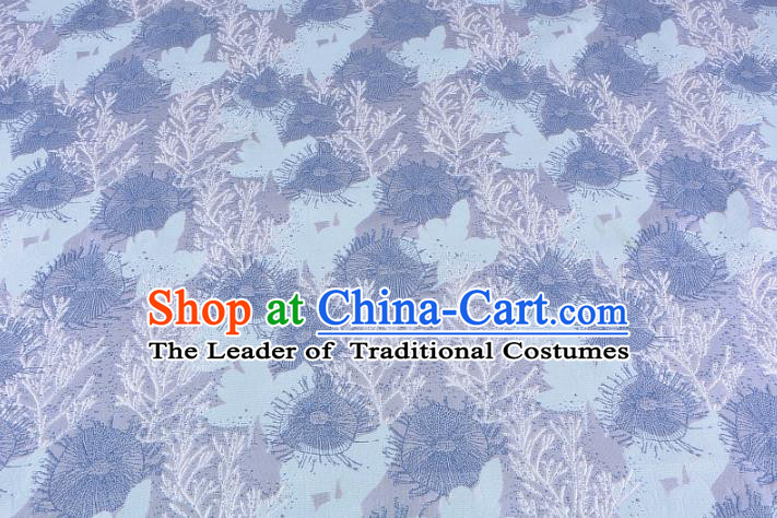 Chinese Traditional Costume Royal Palace Jacquard Weave Pine Needles Blue Brocade Fabric, Chinese Ancient Clothing Drapery Hanfu Cheongsam Material