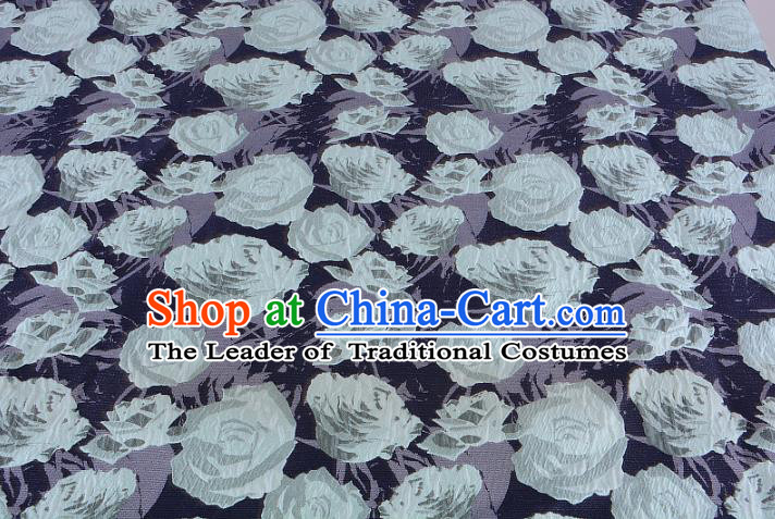 Chinese Traditional Costume Royal Palace Jacquard Weave Rose Navy Fabric, Chinese Ancient Clothing Drapery Hanfu Cheongsam Material