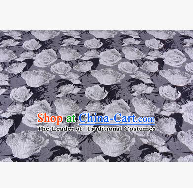Chinese Traditional Costume Royal Palace Jacquard Weave Rose Grey Fabric, Chinese Ancient Clothing Drapery Hanfu Cheongsam Material