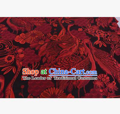 Chinese Traditional Costume Royal Palace Jacquard Weave Red Crane Brocade Fabric, Chinese Ancient Clothing Drapery Hanfu Cheongsam Material