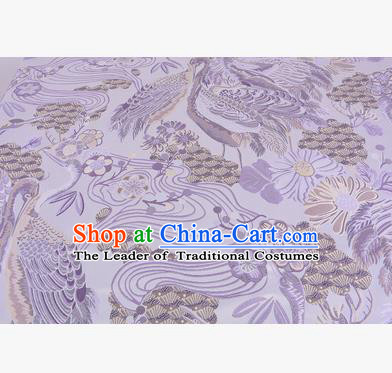 Chinese Traditional Costume Royal Palace Jacquard Weave Lilac Crane Brocade Fabric, Chinese Ancient Clothing Drapery Hanfu Cheongsam Material