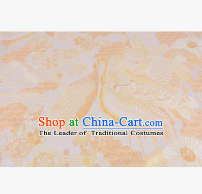 Chinese Traditional Costume Royal Palace Jacquard Weave Yellow Crane Brocade Fabric, Chinese Ancient Clothing Drapery Hanfu Cheongsam Material