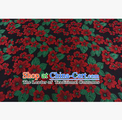 Chinese Traditional Costume Royal Palace Printing Red Flowers Brocade Fabric, Chinese Ancient Clothing Drapery Hanfu Cheongsam Material
