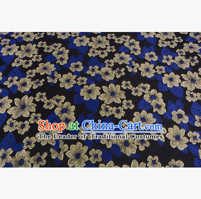 Chinese Traditional Costume Royal Palace Printing Yellow Flowers Brocade Fabric, Chinese Ancient Clothing Drapery Hanfu Cheongsam Material
