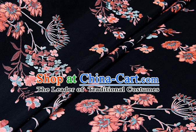 Chinese Traditional Costume Royal Palace Jacquard Weave Dandelion Black Fabric, Chinese Ancient Clothing Drapery Hanfu Cheongsam Material
