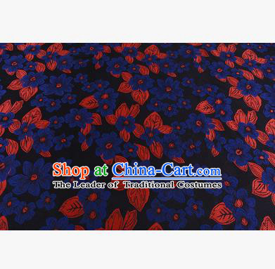 Chinese Traditional Costume Royal Palace Printing Blue Flowers Brocade Fabric, Chinese Ancient Clothing Drapery Hanfu Cheongsam Material