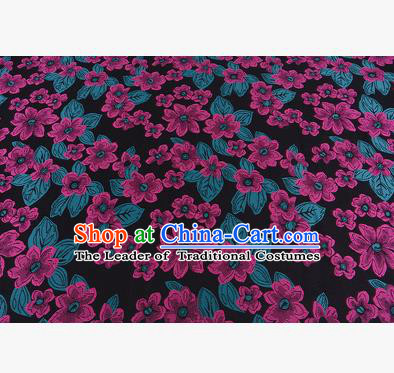 Chinese Traditional Costume Royal Palace Printing Rosy Flowers Brocade Fabric, Chinese Ancient Clothing Drapery Hanfu Cheongsam Material