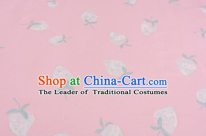 Chinese Traditional Costume Royal Palace Strawberry Pattern Pink Brocade Fabric, Chinese Ancient Clothing Drapery Hanfu Cheongsam Material