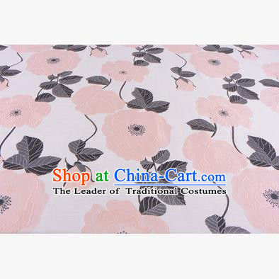 Chinese Traditional Costume Royal Palace Pink Flowers Pattern Fabric, Chinese Ancient Clothing Drapery Hanfu Cheongsam Material