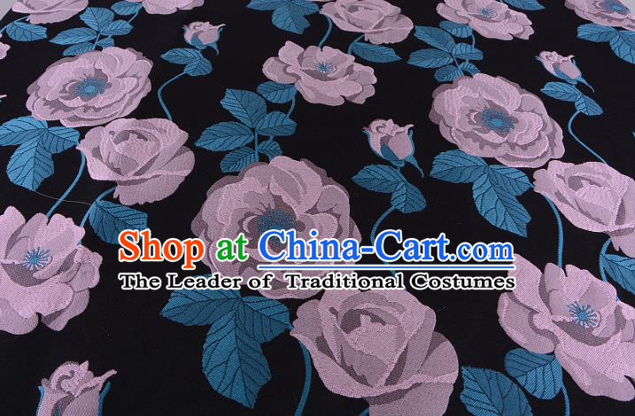 Chinese Traditional Costume Royal Palace Lilac Flowers Pattern Fabric, Chinese Ancient Clothing Drapery Hanfu Cheongsam Material