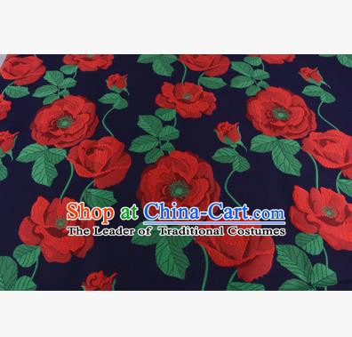 Chinese Traditional Costume Royal Palace Red Flowers Pattern Fabric, Chinese Ancient Clothing Drapery Hanfu Cheongsam Material