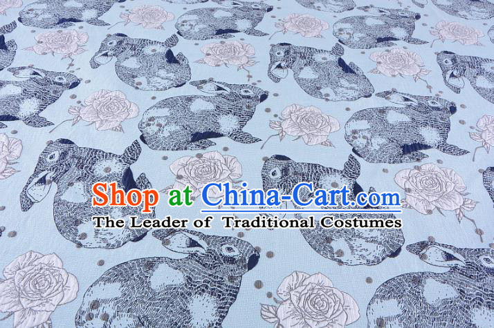Chinese Traditional Costume Royal Palace Rabbit Flowers Pattern Blue Fabric, Chinese Ancient Clothing Drapery Hanfu Cheongsam Material