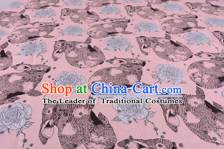 Chinese Traditional Costume Royal Palace Rabbit Flowers Pattern Pink Fabric, Chinese Ancient Clothing Drapery Hanfu Cheongsam Material