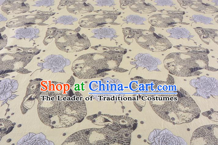 Chinese Traditional Costume Royal Palace Rabbit Flowers Pattern Yellow Fabric, Chinese Ancient Clothing Drapery Hanfu Cheongsam Material