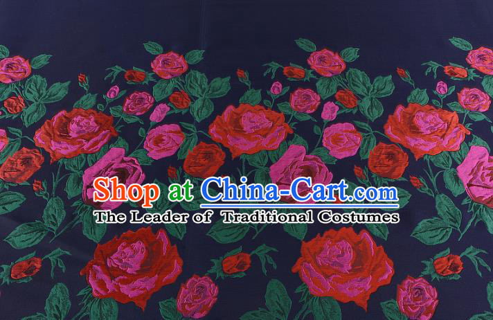 Chinese Traditional Costume Royal Palace Printing Rose Navy Brocade Fabric, Chinese Ancient Clothing Drapery Hanfu Cheongsam Material