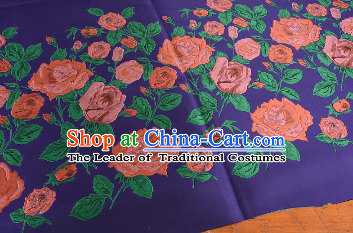Chinese Traditional Costume Royal Palace Printing Rose Purple Brocade Fabric, Chinese Ancient Clothing Drapery Hanfu Cheongsam Material
