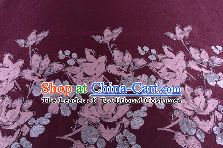 Chinese Traditional Costume Royal Palace Printing Flowers Wine Red Brocade Fabric, Chinese Ancient Clothing Drapery Hanfu Cheongsam Material