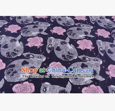 Chinese Traditional Costume Royal Palace Rabbit Flowers Pattern Navy Fabric, Chinese Ancient Clothing Drapery Hanfu Cheongsam Material