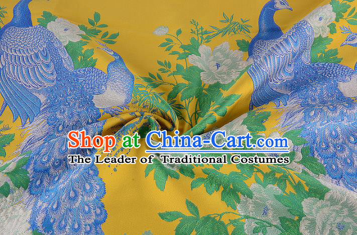 Chinese Traditional Costume Royal Palace Printing Peacock Peony Yellow Brocade Fabric, Chinese Ancient Clothing Drapery Hanfu Cheongsam Material