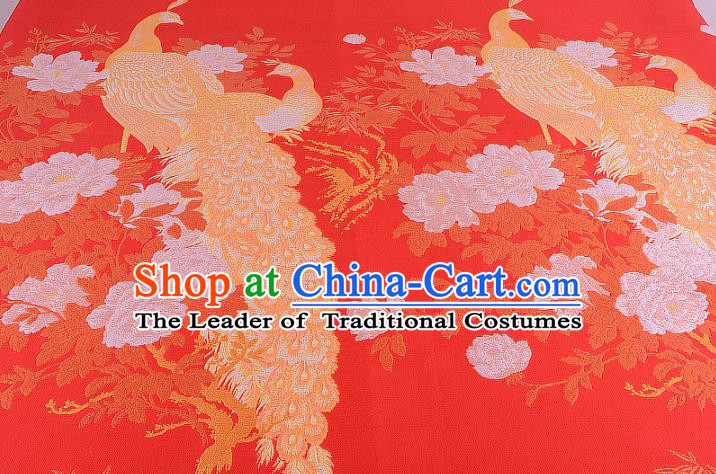 Chinese Traditional Costume Royal Palace Printing Peacock Peony Red Brocade Fabric, Chinese Ancient Clothing Drapery Hanfu Cheongsam Material