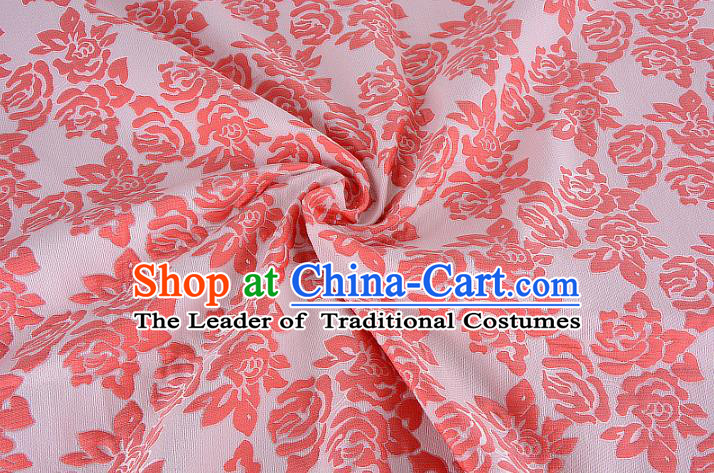 Chinese Traditional Costume Royal Palace Printing Rose Pink Brocade Fabric, Chinese Ancient Clothing Drapery Hanfu Cheongsam Material