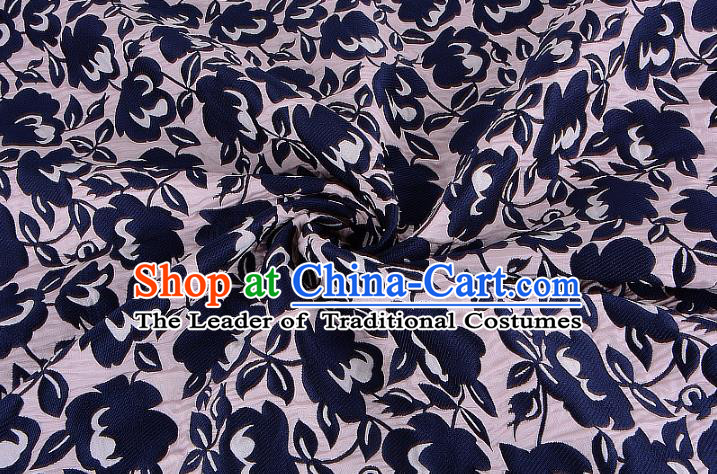 Chinese Traditional Costume Royal Palace Printing Flowers Navy Brocade Fabric, Chinese Ancient Clothing Drapery Hanfu Cheongsam Material