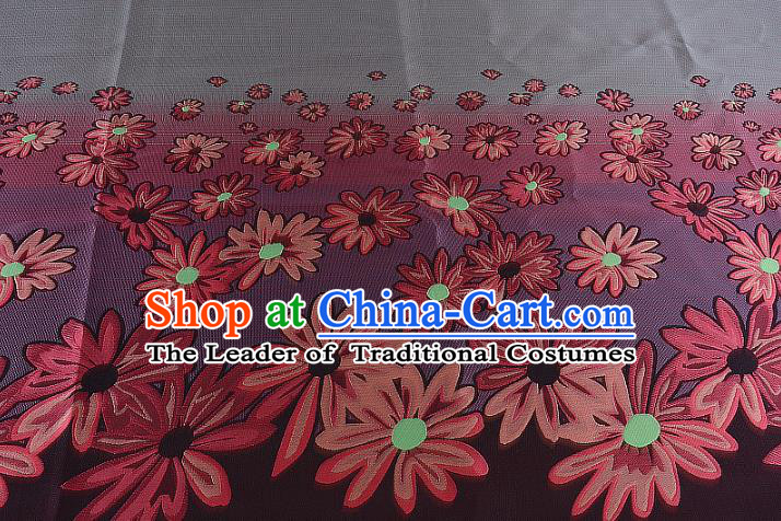Chinese Traditional Costume Royal Palace Printing Flowers Grey Brocade Fabric, Chinese Ancient Clothing Drapery Hanfu Cheongsam Material