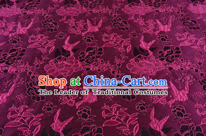 Chinese Traditional Costume Royal Palace Peony Pattern Rosy Brocade Fabric, Chinese Ancient Clothing Drapery Hanfu Cheongsam Material