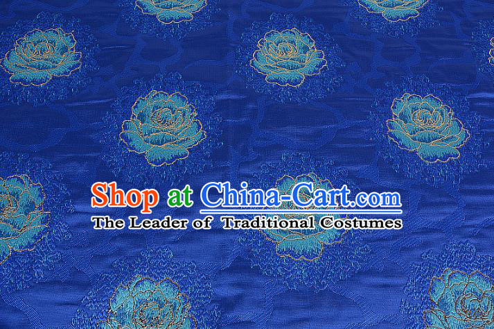 Chinese Traditional Costume Royal Palace Printing Rose Blue Brocade Fabric, Chinese Ancient Clothing Drapery Hanfu Cheongsam Material
