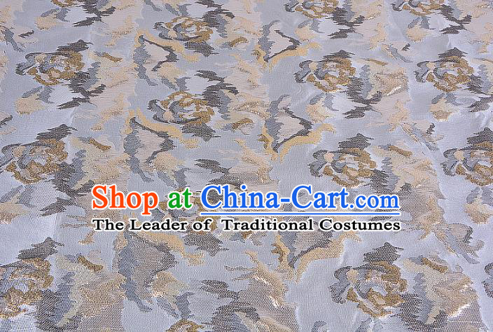 Chinese Traditional Costume Royal Palace Light Golden Brocade Fabric, Chinese Ancient Clothing Drapery Hanfu Cheongsam Material