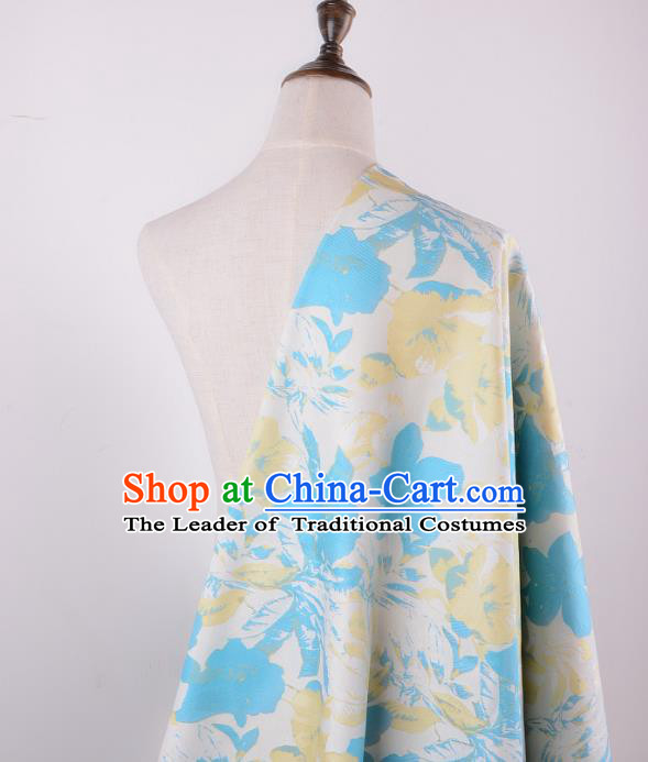 Chinese Traditional Costume Royal Palace Blue Flowers Pattern Brocade Fabric, Chinese Ancient Clothing Drapery Hanfu Cheongsam Material