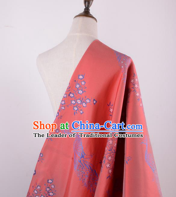 Chinese Traditional Costume Royal Palace Printing Peacock Pattern Red Brocade Fabric, Chinese Ancient Clothing Drapery Hanfu Cheongsam Material