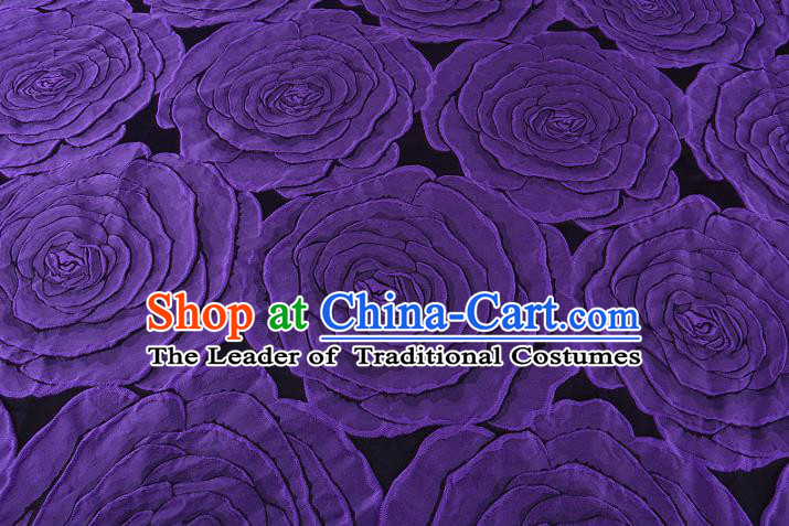 Chinese Traditional Costume Royal Palace Printing Purple Rose Pattern Brocade Fabric, Chinese Ancient Clothing Drapery Hanfu Cheongsam Material
