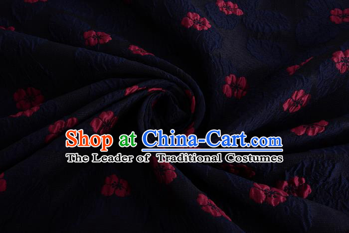 Chinese Traditional Costume Royal Palace Printing Four-leaf Clover Pattern Navy Brocade Fabric, Chinese Ancient Clothing Drapery Hanfu Cheongsam Material