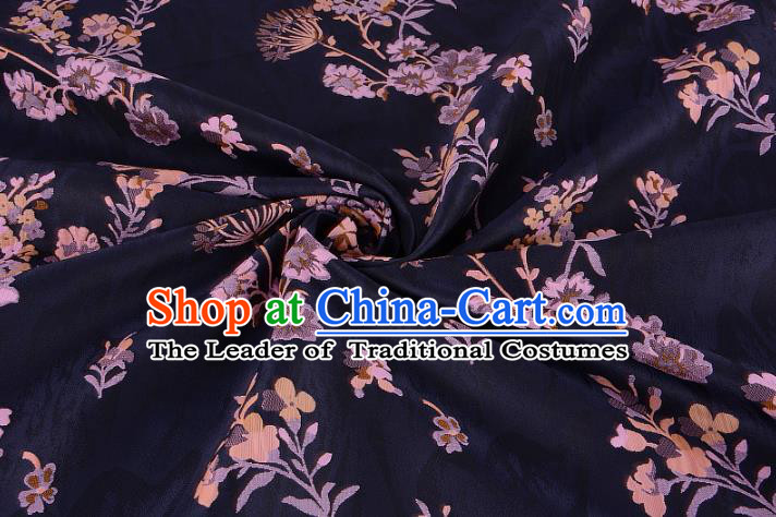 Chinese Traditional Costume Royal Palace Printing Dandelion Pattern Navy Brocade Fabric, Chinese Ancient Clothing Drapery Hanfu Cheongsam Material