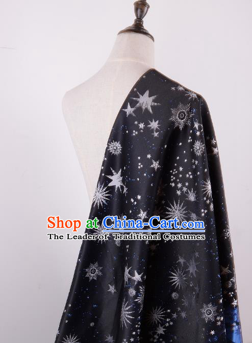 Chinese Traditional Costume Royal Palace Printing Hexagram Pattern Navy Brocade Fabric, Chinese Ancient Clothing Drapery Hanfu Cheongsam Material