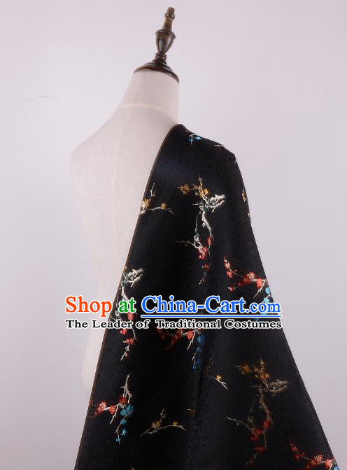 Chinese Traditional Costume Royal Palace Printing Wintersweet Pattern Black Brocade Fabric, Chinese Ancient Clothing Drapery Hanfu Cheongsam Material