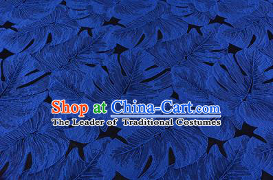 Chinese Traditional Costume Royal Palace Printing Blue Leaf Pattern Brocade Fabric, Chinese Ancient Clothing Drapery Hanfu Cheongsam Material