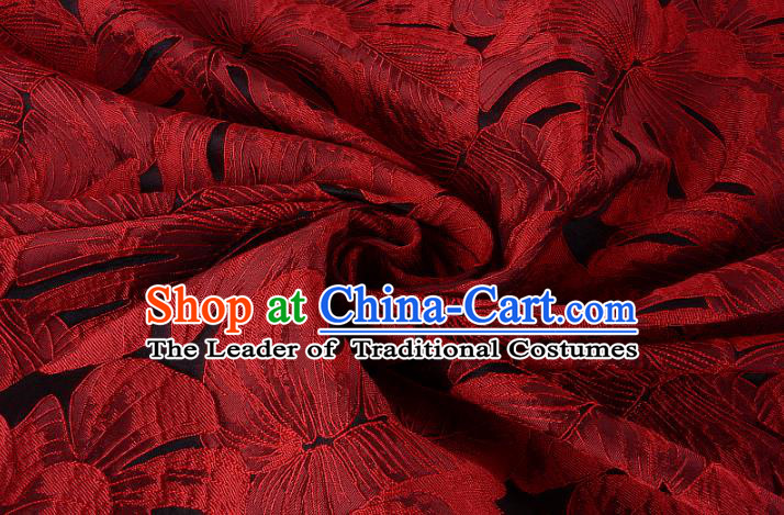 Chinese Traditional Costume Royal Palace Printing Red Leaf Pattern Brocade Fabric, Chinese Ancient Clothing Drapery Hanfu Cheongsam Material