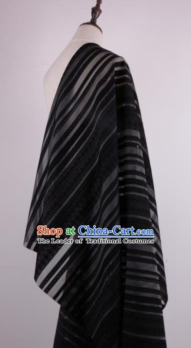 Chinese Traditional Costume Royal Palace Stripe Pattern Black Brocade Fabric, Chinese Ancient Clothing Drapery Hanfu Cheongsam Material