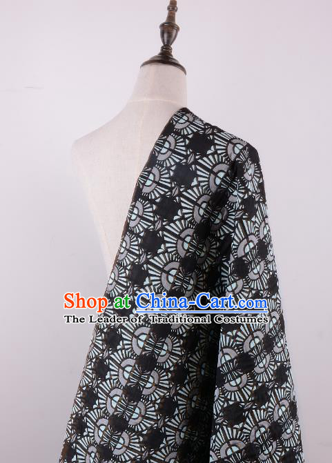 Chinese Traditional Costume Royal Palace Pattern Black Brocade Fabric, Chinese Ancient Clothing Drapery Hanfu Cheongsam Material